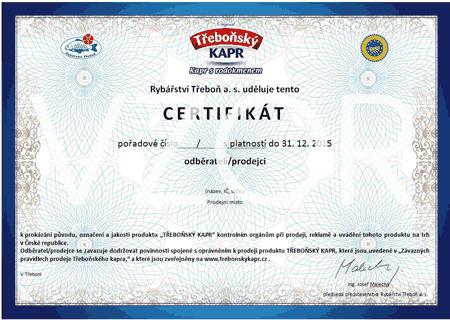 Certifikát - Třeboňský kapr Vánoce 2015